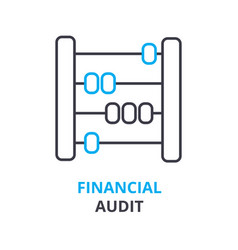 financial audit concept outline icon linear vector image