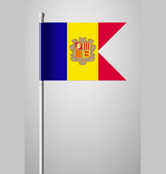 Flag of andorra national flag on flagpole vector