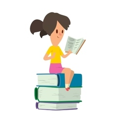 Girl reading book vector image