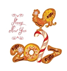 Hand written calligraphic text Happy New Year 2017 vector image