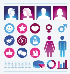 Infographics design elements - man and woman icons vector