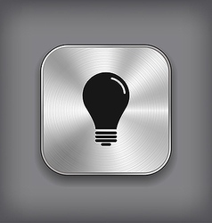Light bulb icon - metal app button vector image vector image