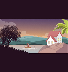 Mountain lake in scenery nature with house home on vector