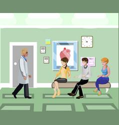 Patients waiting in line in clinic corridor vector