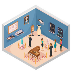people viewing museum exhibits vector image vector image