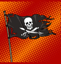 Pirate flag with jolly roger pop art vector