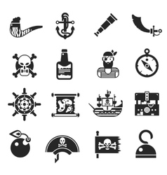 Pirates black icons set vector