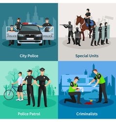 Police People Flat 2x2 Design Concept vector image vector image