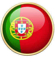 Portugul flag on round button vector