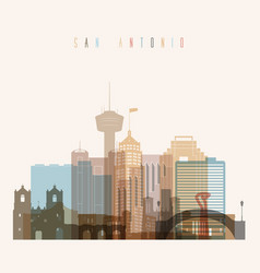 San antonio state texas skyline detailed silhouett vector