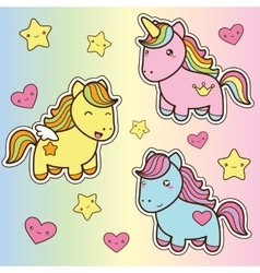 Set collection of cute kawaii style horses vector image vector image