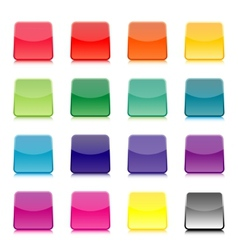 Set of multicolored square buttons vector image vector image