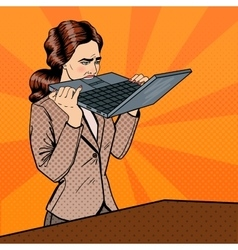 Stressed Business Woman Biting Laptop vector image vector image