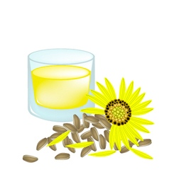 Sunflower Oil and Yellow Sunflower with Seed vector image vector image