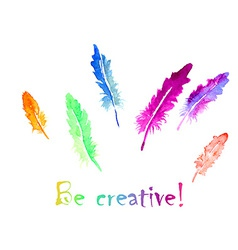 Watercolor feather vector