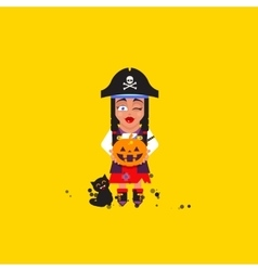 A pirate girl character for halloween vector