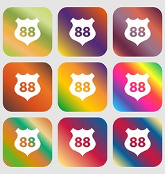 Route 88 highway icon sign nine buttons with vector