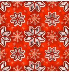 Christmas red embroidery seamless pattern vector image