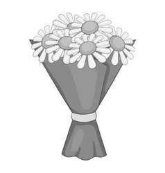 Bouquet of flowers icon gray monochrome style vector image