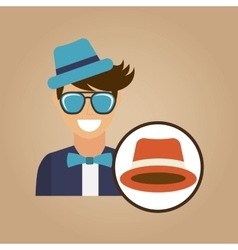 hipster character bow tie hat vector image
