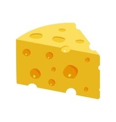 Triangular yellow cheese piece vector