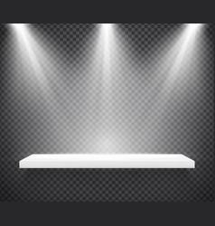 Empty white shelf illuminated by three spotlights vector