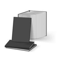Stack of blank black books mockup template on vector