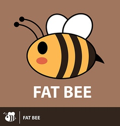 Cute fat bee symbol icon vector