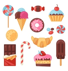 Set of colorful various candy sweets and cakes vector