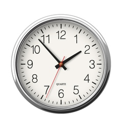 Classic round wall clock with metallic glossy body vector