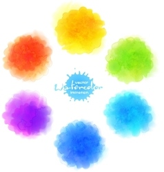 Watercolor imitation rainbow paint stains vector