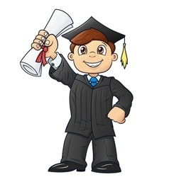 Student holding his diploma 2 vector