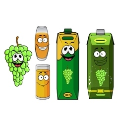 Grape juice packs fruit and glasses vector