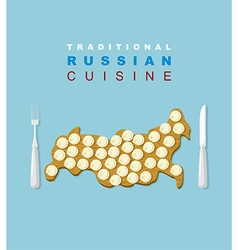 Russian traditional cuisine russians national dish vector
