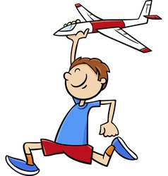 Boy with toy plane cartoon vector