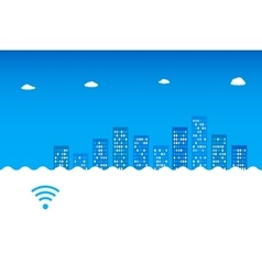 Abstract blue cityscape wi-fi 3g 4g vector