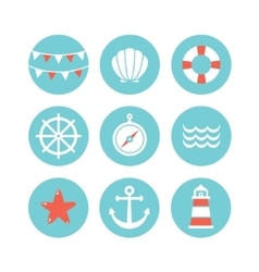 Set of 9 flat sea elements vector