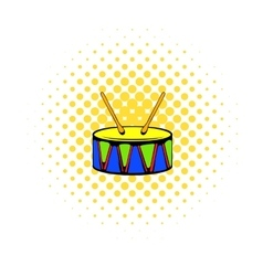 Toy drum icon comics style vector