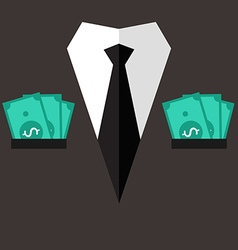 Professional suit with cash in pocket vector