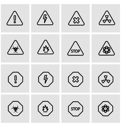 Line danger icon set vector