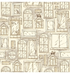 Seamless pattern with different windows vector