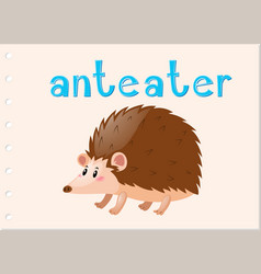 Animal flashcard with anteater vector