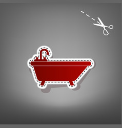 Bathtub sign red icon with vector