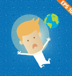 Business man fly on the space - - eps10 vector