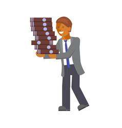 Businessman hauls docs vector
