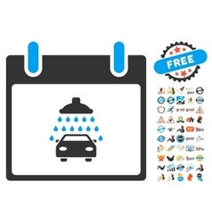 Car shower calendar day flat icon with vector