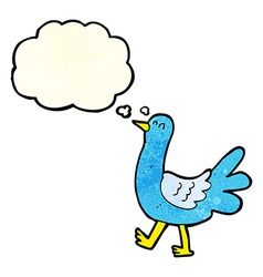 Cartoon walking bird with thought bubble vector