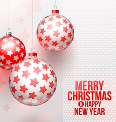 Christmas baubles with stars decor vector image