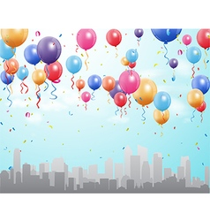City landscape with colorful flying balloon vector