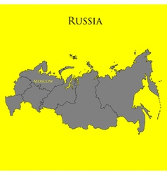 Contour map of russia on a yellow vector